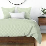 Stencil Snowflake Green And Cream Cream Sateen Duvet Cover By Roostery