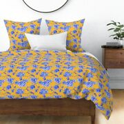 Chinoiserie China Yellow Gold Orange Jacqueline Sateen Duvet Cover By Roostery