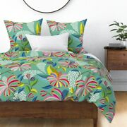 Lillies Stylized Garden Bloom Night Glow Leaves Sateen Duvet Cover By Roostery