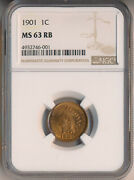 1901 Indian Head Cent Ngc Certified Ms 63 Rb Free Ship
