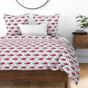 Americana Trailer Patriotic Summer Red White Blue Sateen Duvet Cover By Roostery