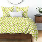 Fig Summer Fruit Figs Food Lime Green Leaf Leaves Sateen Duvet Cover By Roostery