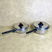 Ekco Prudential Ware 3qt And 8 Fry Pan W/ Lids Stainless Titanium Usa Set Of 4