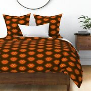 Lips Kiss Valentines Day Sweet Brown And Orange Sateen Duvet Cover By Roostery