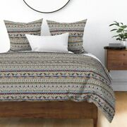 Christmas Sweater Fair Isle Holiday Winter Moose Sateen Duvet Cover By Roostery