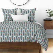 Ants Red Blue Ant Bug Insect Mid Century Mod Sateen Duvet Cover By Roostery