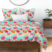 Flowers Bright Retro Mod Bright Colors Floral Sateen Duvet Cover By Roostery
