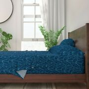 Modern Leaves Tropical Palm Blue Hosta 100 Cotton Sateen Sheet Set By Roostery