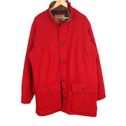 Cabelas Outfitter Series Full Zip Wool Coat Mens Large Tall Red Elbow Patches