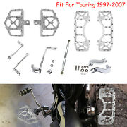 Chrome Wide Fat Floorboard Mx Style Bracket Linkage Fit For Harley Touring 97-07