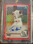 Tink Hence Autographed 2020 Bowman Chrome Draft Red Wave 1/5 Cardinals