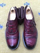 Mens Shoes Burgundy Red Ostrich Leather Monk Strap Uk 9 Us 10 Eu 43