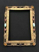 Antique Czech Glass Jeweled Ormolu Picture Photo Frame No Glass Or Back