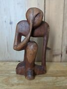 Abstract Modernist Burl Wood Thinking Man Hand Carved Art Sculpture. .