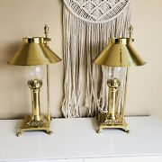 Brass Orient Express Paris Istanbul Clawfoot Railroad Style Table Lamps