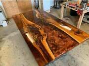 Collectible Wooden Walnut Epoxy Top Resin Wavy Side Dining Table Furniture Decor