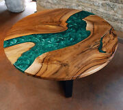 Round Green Epoxy Natural Walnut Wooden Premium Quality Table Made To Order