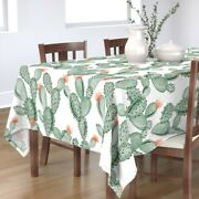 Tablecloth Flowering Cactus Cacti Pastels Thorn Watercolor Paddle Cotton Sateen
