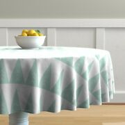Round Tablecloth Forest Pine Tree Baby Blue Pastel Mint Triangle Cotton Sateen