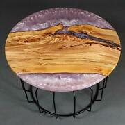 Round Pink Epoxy Coffee Table, Rub Pink End Table, Wood Slab Furniture Gift Deco