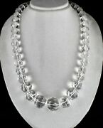 Big Natural Rock Crystal Quartz Beads Faceted Round 1604 Cts Gemstone Necklace