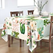 Tablecloth Cheater Cactus Blush Pink Green Boho Baby Girl Floral Cotton Sateen