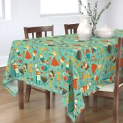 Tablecloth Summer Cookout Grill Food Backyard Family Fun Barbecue Cotton Sateen