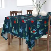 Tablecloth Midnight Cacti Collection Southwestern Cactus Tropical Cotton Sateen