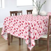 Tablecloth Red And Pink Hearts Valentine' Day Valentines White Cotton Sateen