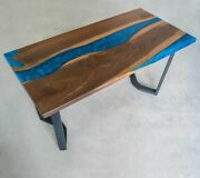 Luxury Walnut Ocean Blue River Epoxy Dining Resin Living Room Deco Made To Order