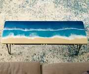 Deep Ocean Wavy Dining Table Natural Wooden Epoxy River Decorates Made To Order