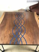 Luxury Walnut Wood Top River Epoxy Dining Table Handmade Home Deco Made To Order