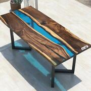 Blue Transparent Epoxy Wooden Style Dining Table Cafeteria Decors Made To Order