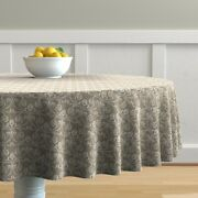 Round Tablecloth Rose Roses Damask Vintage Floral Shabby Cotton Sateen