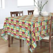 Tablecloth Radios Fifties Music Retro Vintage Pastel Colors Red Cotton Sateen