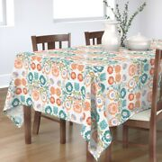 Tablecloth Pastel Floral Folk Art Inspired Polish Embroidery Look Cotton Sateen