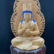 Buddha Sandalwood Hex Stand Gold Paint Woodcarving Sculpture Height 22 Antique