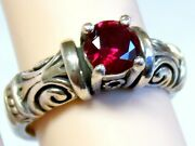 Red Ruby Ring Sz 5 Sz 5.25 Antique 925 Sterling Silver Scroll Vintage Style