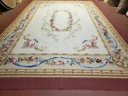 Aubusson Rug 9 X 13 French Antique European Style Pastel Floral Beige Wool New