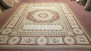 Aubusson Savonierre Rug 8x10 French New Carpet Flatweave 100 Wool Clay Red