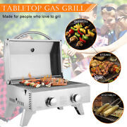 Tabletop Stainless Steel 2-burner Gas Grill 2000 Btu Grid With Foldable Legs