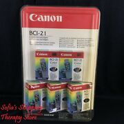 Canon Bci-21 Ink Cartridges Color And Black 5 Pack For Bubble Jet Sealed