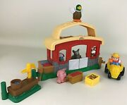Fisher Price Little People Farm Barn Animal Sounds Stable With Figures Lot 2003
