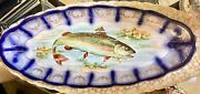Antique Flow Blue Sterung China Co Large Fish Platter Speckled Trout