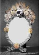Mirror Table Murano Glass Classic With Gold 24 Made By Hand Made In Italy