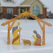 Outdoor Giant Size 8and039 Christmas Holiday Nativity Glitter Led Lights Yard Decor