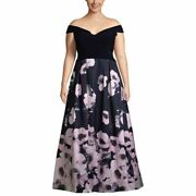Xscape New Womenand039s Plus Size Off-the-shoulder Floral-print Gown Dress 14w Tedo