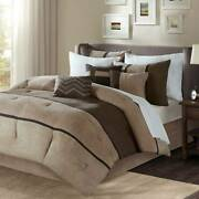 Madison Park Palisades Queen Bed Comforter Set Brown Taupe Pieced Stripe 7pcs
