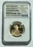 2021 W 1/2 Oz 25 Gold American Eagle Ngc Pf 70 Ultra Cameo Family Of Eagles T-1