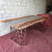 Gray Epoxy Wooden Walnut Center Dining Table Handmade Outdoor Deco Made To Order